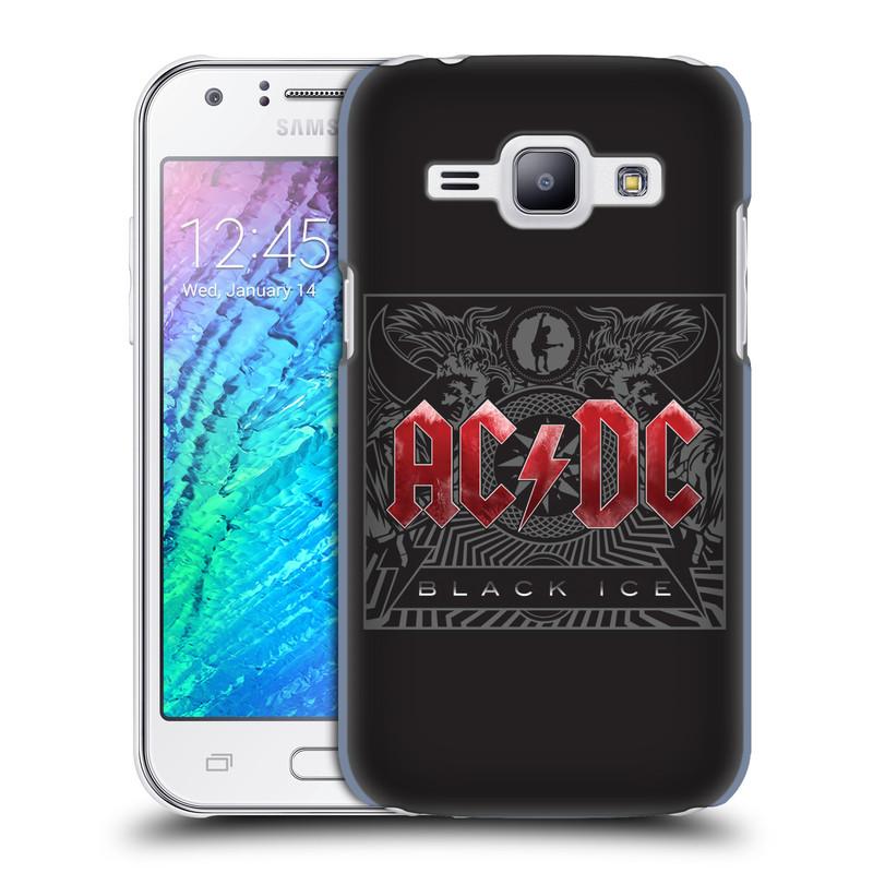 Plastové pouzdro na mobil Samsung Galaxy J1 HEAD CASE AC/DC Black Ice (Plastový kryt či obal na mobilní telefon s oficiálním motivem australské skupiny AC/DC pro Samsung Galaxy J1 a J1 Duos )
