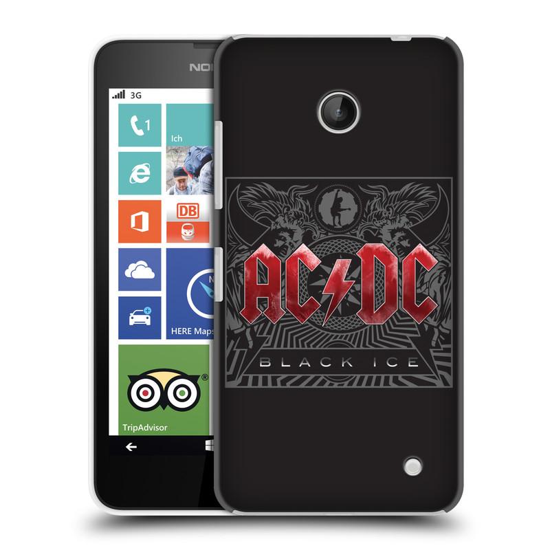 Plastové pouzdro na mobil Nokia Lumia 630 HEAD CASE AC/DC Black Ice (Plastový kryt či obal na mobilní telefon s oficiálním motivem australské skupiny AC/DC pro Nokia Lumia 630 a Nokia Lumia 630 Dual SIM)