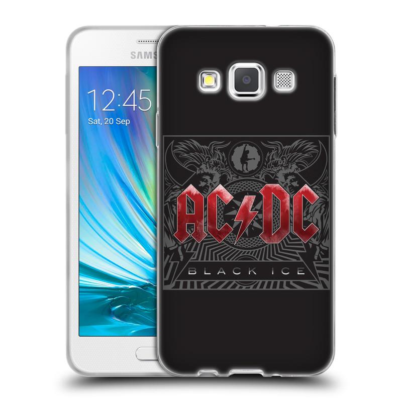 Silikonové pouzdro na mobil Samsung Galaxy A3 HEAD CASE AC/DC Black Ice (Silikonový kryt či obal na mobilní telefon s oficiálním motivem australské skupiny AC/DC pro Samsung Galaxy A3 SM-A300)