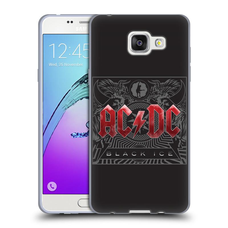 Silikonové pouzdro na mobil Samsung Galaxy A5 (2016) HEAD CASE AC/DC Black Ice (Silikonový kryt či obal na mobilní telefon s oficiálním motivem australské skupiny AC/DC pro Samsung Galaxy A5 (2016) SM-A510F)