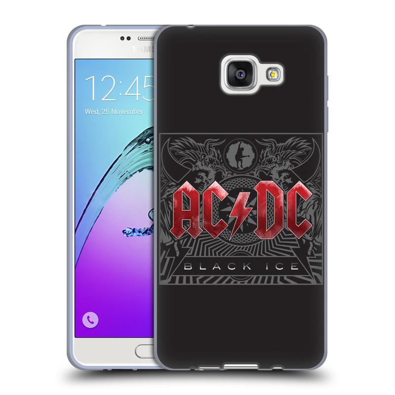 Silikonové pouzdro na mobil Samsung Galaxy A7 (2016) HEAD CASE AC/DC Black Ice (Silikonový kryt či obal na mobilní telefon s oficiálním motivem australské skupiny AC/DC pro Samsung Galaxy A7 (2016) SM-A710F)