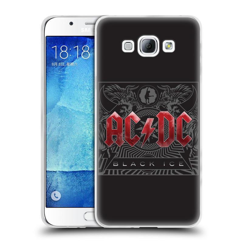 Silikonové pouzdro na mobil Samsung Galaxy A8 HEAD CASE AC/DC Black Ice (Silikonový kryt či obal na mobilní telefon s oficiálním motivem australské skupiny AC/DC pro Samsung Galaxy A8 SM-A800)