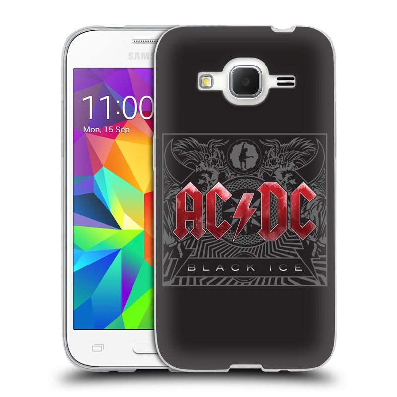 Silikonové pouzdro na mobil Samsung Galaxy Core Prime LTE HEAD CASE AC/DC Black Ice (Silikonový kryt či obal na mobilní telefon s oficiálním motivem australské skupiny AC/DC pro Samsung Galaxy Core Prime LTE SM-G360)