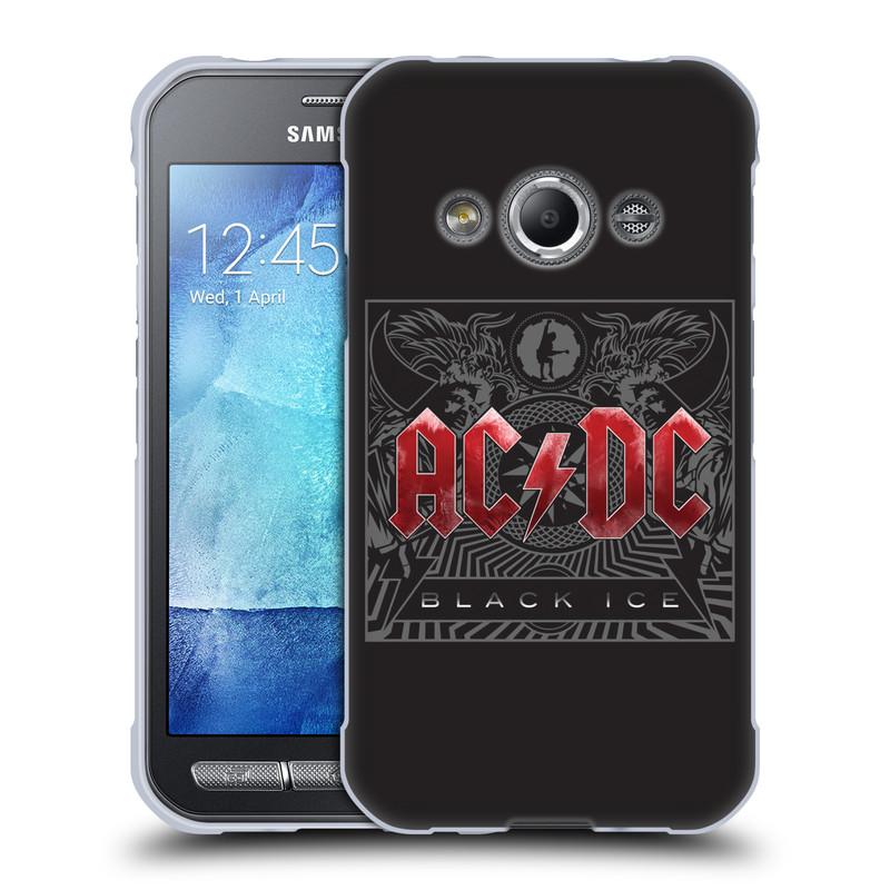 Silikonové pouzdro na mobil Samsung Galaxy Xcover 3 HEAD CASE AC/DC Black Ice (Silikonový kryt či obal na mobilní telefon s oficiálním motivem australské skupiny AC/DC pro Samsung Galaxy Xcover 3 SM-G388F)