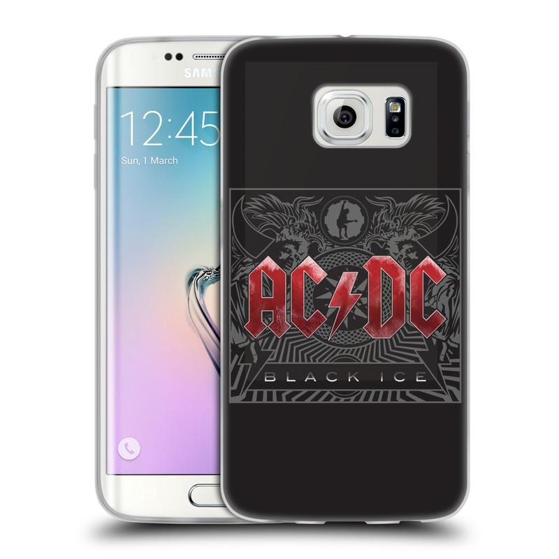 Silikonové pouzdro na mobil Samsung Galaxy S6 Edge HEAD CASE AC/DC Black Ice (Silikonový kryt či obal na mobilní telefon s oficiálním motivem australské skupiny AC/DC pro Samsung Galaxy S6 Edge SM-G925F)