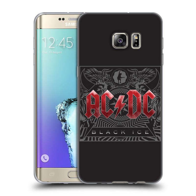 Silikonové pouzdro na mobil Samsung Galaxy S6 Edge Plus HEAD CASE AC/DC Black Ice (Silikonový kryt či obal na mobilní telefon s oficiálním motivem australské skupiny AC/DC pro Samsung Galaxy S6 Edge Plus SM-G928F)