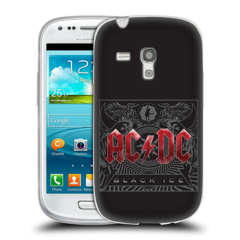 Silikonové pouzdro na mobil Samsung Galaxy S III Mini HEAD CASE AC/DC Black Ice (Silikonový kryt či obal na mobilní telefon s oficiálním motivem australské skupiny AC/DC pro Samsung Galaxy S III Mini GT-i8190)