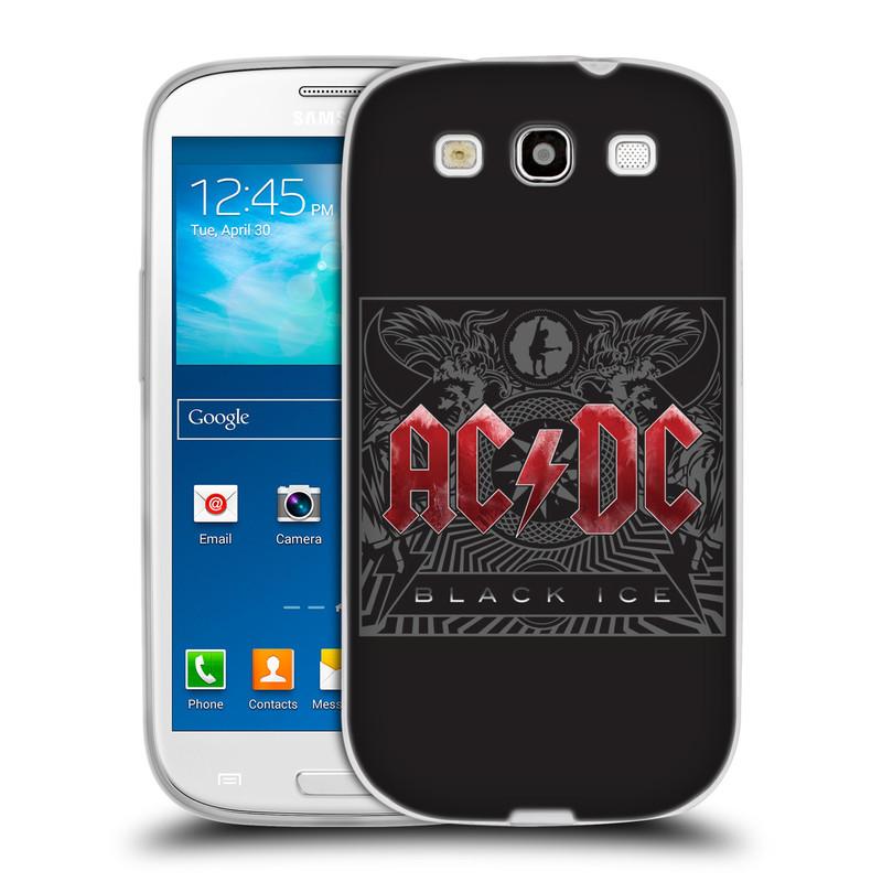 Silikonové pouzdro na mobil Samsung Galaxy S III HEAD CASE AC/DC Black Ice (Silikonový kryt či obal na mobilní telefon s oficiálním motivem australské skupiny AC/DC pro Samsung Galaxy S III GT-i9300)