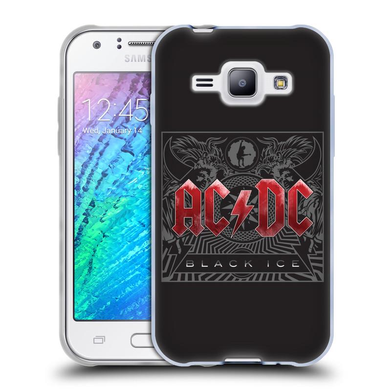 Silikonové pouzdro na mobil Samsung Galaxy J1 HEAD CASE AC/DC Black Ice (Silikonový kryt či obal na mobilní telefon s oficiálním motivem australské skupiny AC/DC pro Samsung Galaxy J1 a J1 Duos)