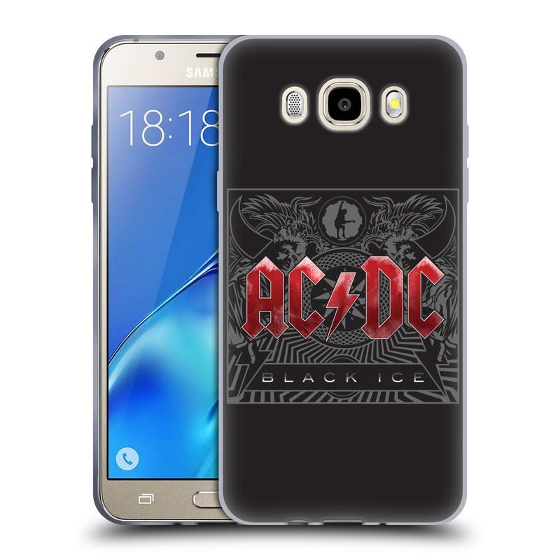 Silikonové pouzdro na mobil Samsung Galaxy J5 (2016) HEAD CASE AC/DC Black Ice (Silikonový kryt či obal na mobilní telefon s oficiálním motivem australské skupiny AC/DC pro Samsung Galaxy J5 (2016) SM-J510)