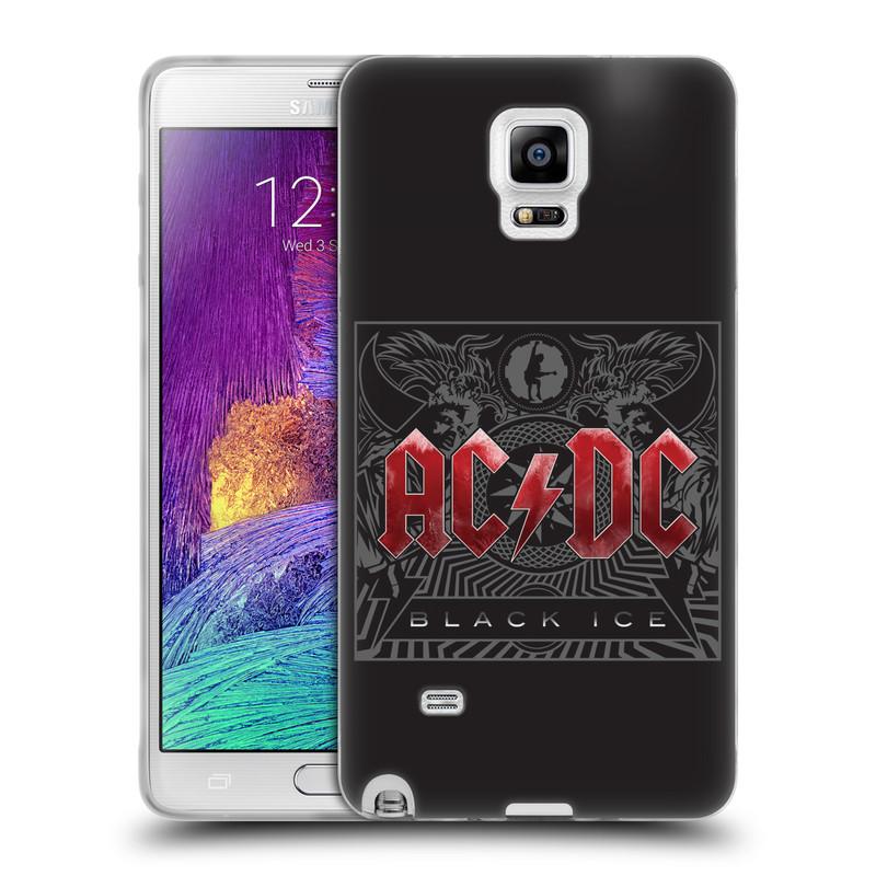 Silikonové pouzdro na mobil Samsung Galaxy Note 4 HEAD CASE AC/DC Black Ice (Silikonový kryt či obal na mobilní telefon s oficiálním motivem australské skupiny AC/DC pro Samsung Galaxy Note 4 SM-N910F)