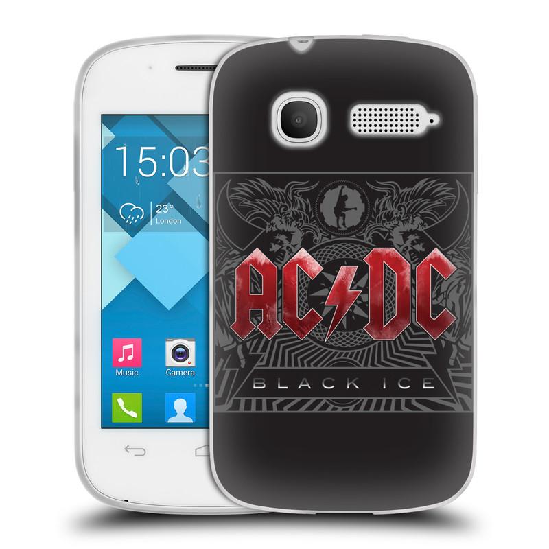 Silikonové pouzdro na mobil Alcatel One Touch Pop C1 HEAD CASE AC/DC Black Ice (Silikonový kryt či obal na mobilní telefon s oficiálním motivem australské skupiny AC/DC pro Alcatel OT-4015D POP C1)
