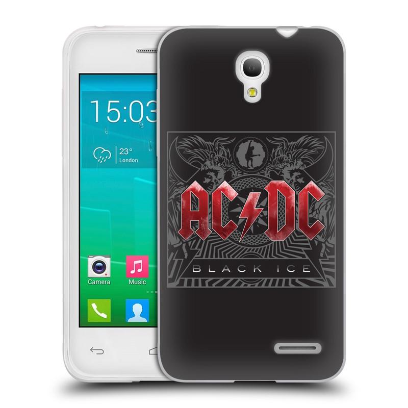 Silikonové pouzdro na mobil Alcatel One Touch Pop S3 HEAD CASE AC/DC Black Ice (Silikonový kryt či obal na mobilní telefon s oficiálním motivem australské skupiny AC/DC pro Alcatel OT- 5050Y POP S3)