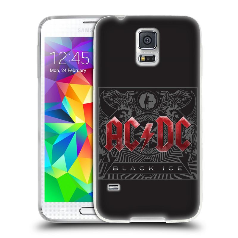 Silikonové pouzdro na mobil Samsung Galaxy S5 HEAD CASE AC/DC Black Ice (Silikonový kryt či obal na mobilní telefon s oficiálním motivem australské skupiny AC/DC pro Samsung Galaxy S5 SM-G900F)