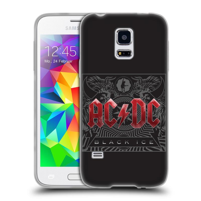 Silikonové pouzdro na mobil Samsung Galaxy S5 Mini HEAD CASE AC/DC Black Ice (Silikonový kryt či obal na mobilní telefon s oficiálním motivem australské skupiny AC/DC pro Samsung Galaxy S5 Mini SM-G800F)