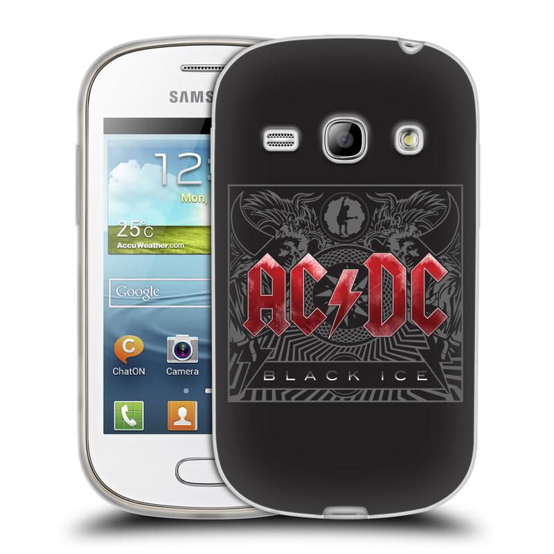 Silikonové pouzdro na mobil Samsung Galaxy Fame HEAD CASE AC/DC Black Ice (Silikonový kryt či obal na mobilní telefon s oficiálním motivem australské skupiny AC/DC pro Samsung Galaxy Fame GT-S6810)