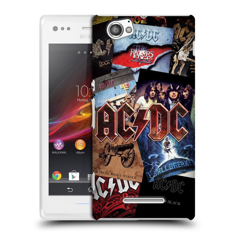 Plastové pouzdro na mobil Sony Xperia M C1905 HEAD CASE AC/DC Koláž desek (Plastový kryt či obal na mobilní telefon s oficiálním motivem australské skupiny AC/DC pro Sony Xperia M )