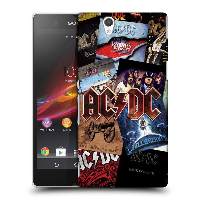 Plastové pouzdro na mobil Sony Xperia Z C6603 HEAD CASE AC/DC Koláž desek (Plastový kryt či obal na mobilní telefon s oficiálním motivem australské skupiny AC/DC pro Sony Xperia Z)