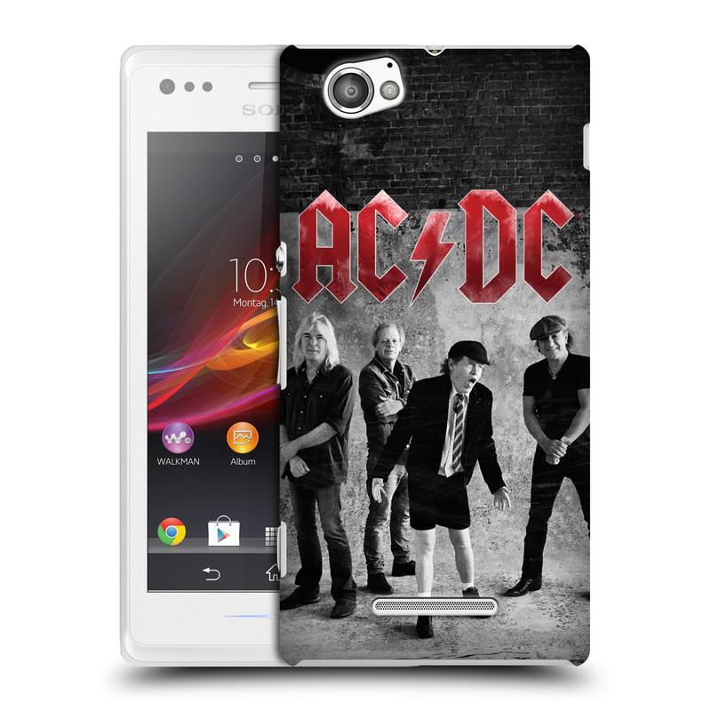 Plastové pouzdro na mobil Sony Xperia M C1905 HEAD CASE AC/DC Skupina černobíle (Plastový kryt či obal na mobilní telefon s oficiálním motivem australské skupiny AC/DC pro Sony Xperia M )