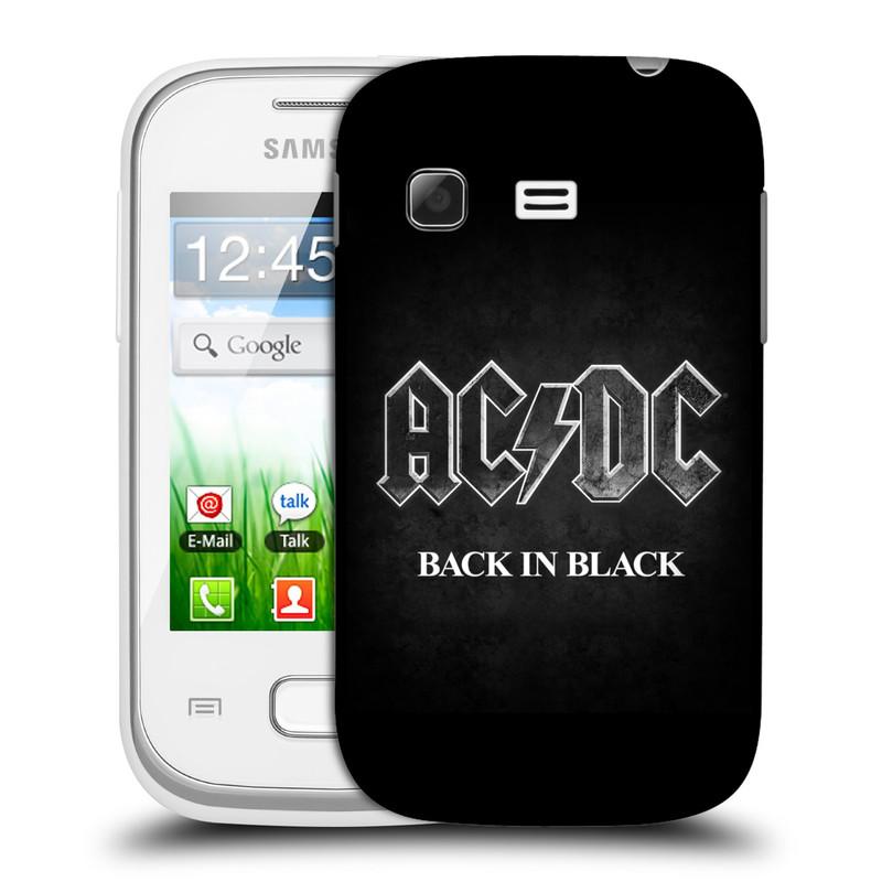 Plastové pouzdro na mobil Samsung Galaxy Pocket HEAD CASE AC/DC BACK IN BLACK (Plastový kryt či obal na mobilní telefon s oficiálním motivem australské skupiny AC/DC pro Samsung Galaxy Pocket GT-S5300)