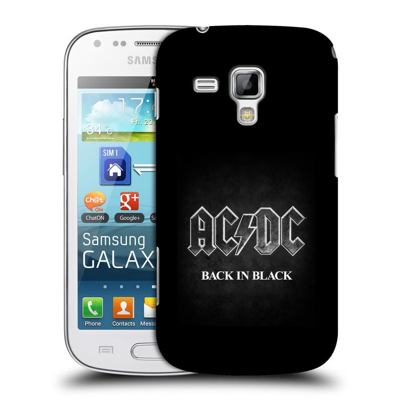Plastové pouzdro na mobil Samsung Galaxy S Duos HEAD CASE AC/DC BACK IN BLACK (Plastový kryt či obal na mobilní telefon s oficiálním motivem australské skupiny AC/DC pro Samsung Galaxy S Duos GT-S7562)