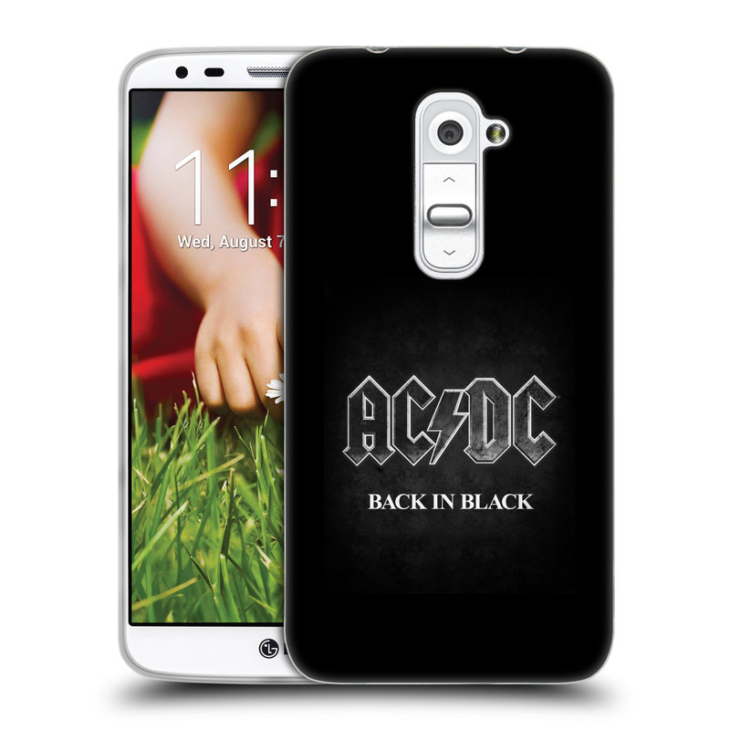 Silikonové pouzdro na mobil HTC LG G2 HEAD CASE AC/DC BACK IN BLACK (Silikonový kryt či obal na mobilní telefon s oficiálním motivem australské skupiny AC/DC pro HTC LG G2)