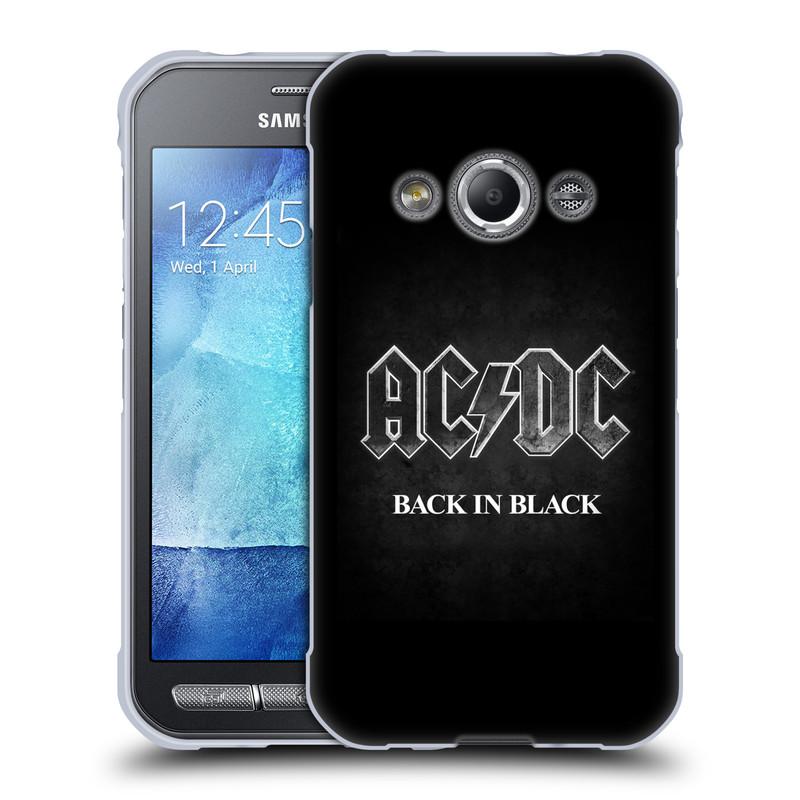 Silikonové pouzdro na mobil Samsung Galaxy Xcover 3 HEAD CASE AC/DC BACK IN BLACK (Silikonový kryt či obal na mobilní telefon s oficiálním motivem australské skupiny AC/DC pro Samsung Galaxy Xcover 3 SM-G388F)