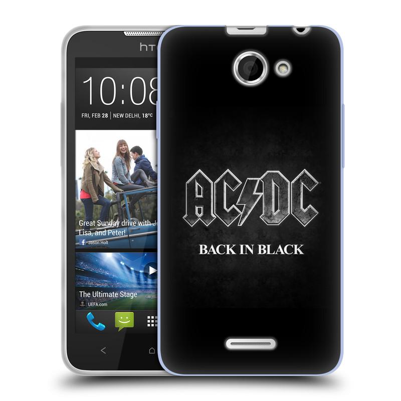 Silikonové pouzdro na mobil HTC Desire 516 HEAD CASE AC/DC BACK IN BLACK (Silikonový kryt či obal na mobilní telefon s oficiálním motivem australské skupiny AC/DC pro HTC Desire 516 Dual SIM)