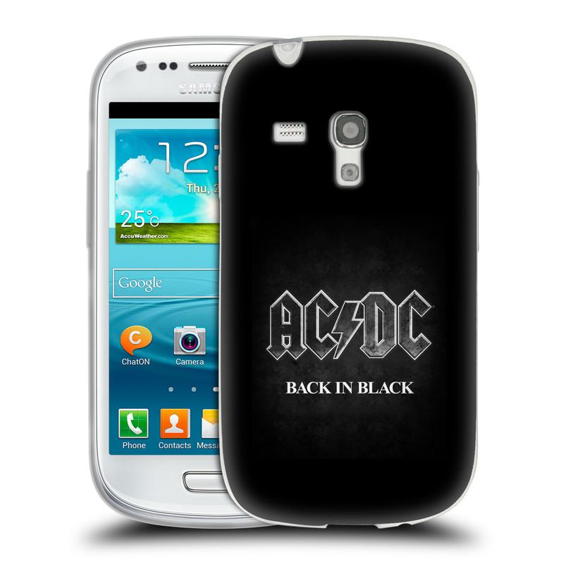 Silikonové pouzdro na mobil Samsung Galaxy S3 Mini VE HEAD CASE AC/DC BACK IN BLACK (Silikonový kryt či obal na mobilní telefon s oficiálním motivem australské skupiny AC/DC pro Samsung Galaxy S3 Mini VE GT-i8200)