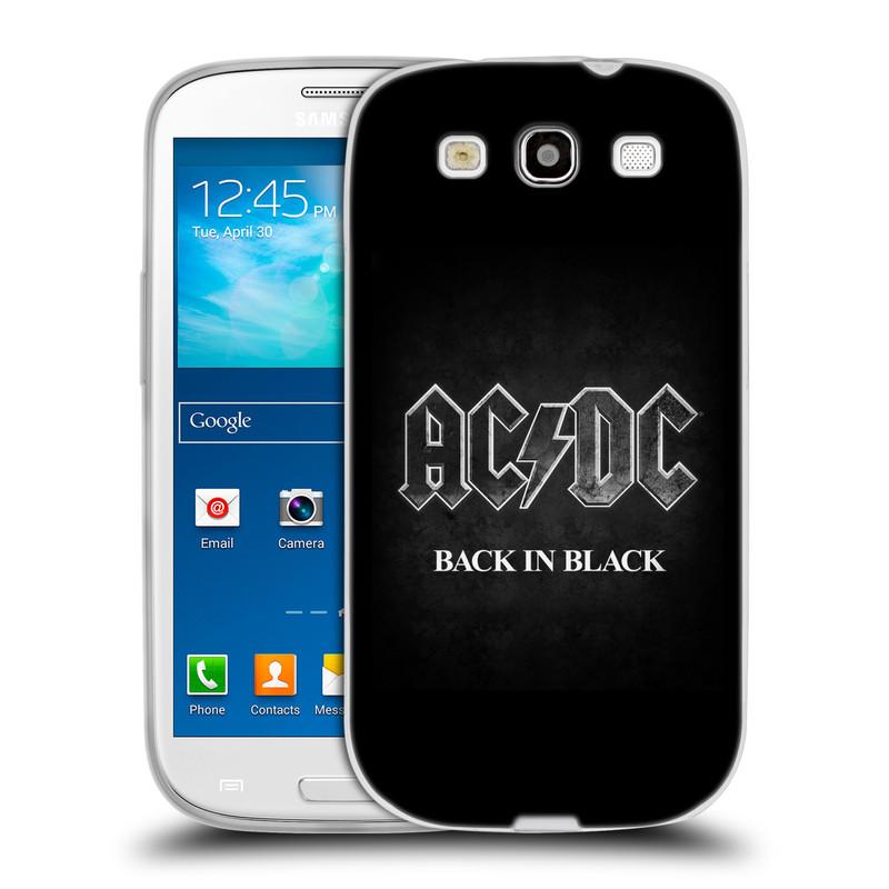 Silikonové pouzdro na mobil Samsung Galaxy S III HEAD CASE AC/DC BACK IN BLACK (Silikonový kryt či obal na mobilní telefon s oficiálním motivem australské skupiny AC/DC pro Samsung Galaxy S III GT-i9300)