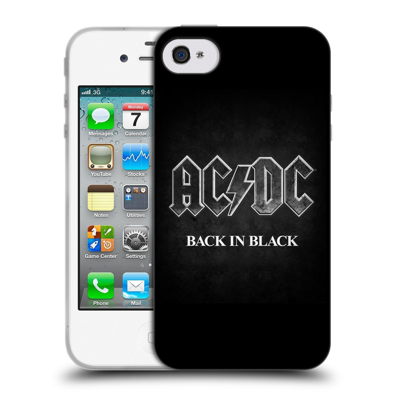 Silikonové pouzdro na mobil Apple iPhone 4 a 4S HEAD CASE AC/DC BACK IN BLACK (Silikonový kryt či obal na mobilní telefon s oficiálním motivem australské skupiny AC/DC pro Apple iPhone 4 a 4S)