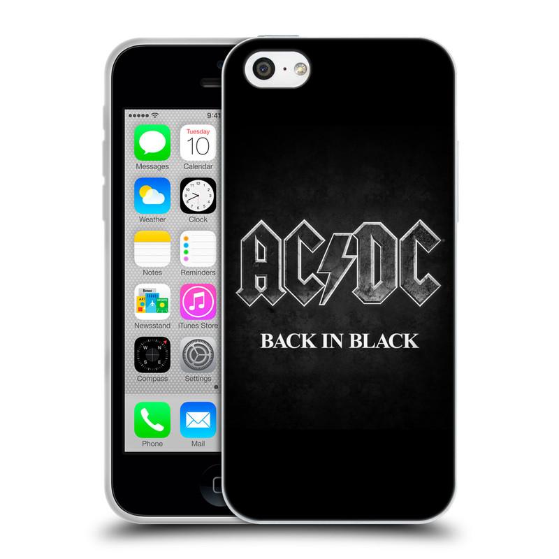 Silikonové pouzdro na mobil Apple iPhone 5C HEAD CASE AC/DC BACK IN BLACK (Silikonový kryt či obal na mobilní telefon s oficiálním motivem australské skupiny AC/DC pro Apple iPhone 5C)