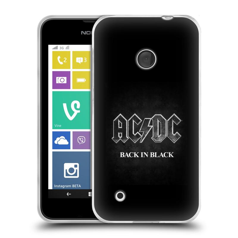 Silikonové pouzdro na mobil Nokia Lumia 530 HEAD CASE AC/DC BACK IN BLACK (Silikonový kryt či obal na mobilní telefon s oficiálním motivem australské skupiny AC/DC pro Nokia Lumia 530)