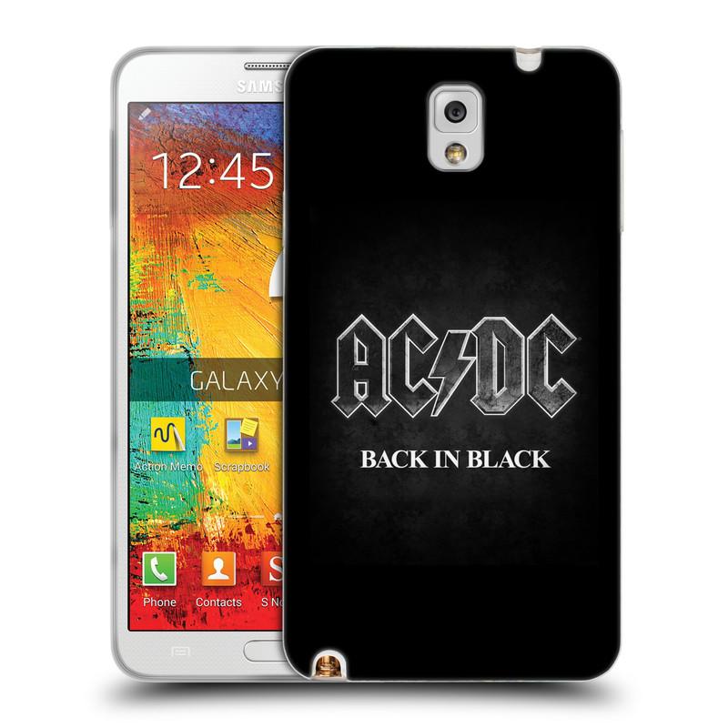 Silikonové pouzdro na mobil Samsung Galaxy Note 3 HEAD CASE AC/DC BACK IN BLACK (Silikonový kryt či obal na mobilní telefon s oficiálním motivem australské skupiny AC/DC pro Samsung Galaxy Note 3 SM-N9005)