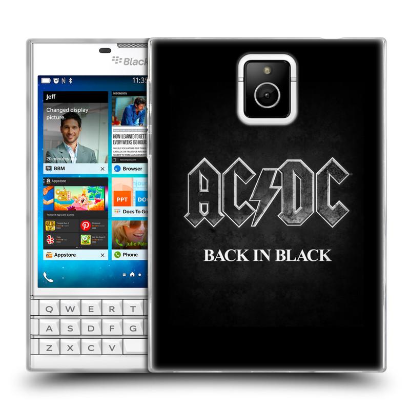Silikonové pouzdro na mobil Blackberry PASSPORT HEAD CASE AC/DC BACK IN BLACK (Silikonový kryt či obal na mobilní telefon s oficiálním motivem australské skupiny AC/DC pro Blackberry PASSPORT)