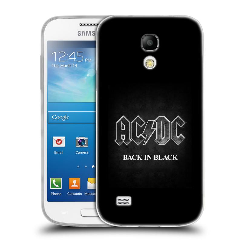 Silikonové pouzdro na mobil Samsung Galaxy S4 Mini HEAD CASE AC/DC BACK IN BLACK (Silikonový kryt či obal na mobilní telefon s oficiálním motivem australské skupiny AC/DC pro Samsung Galaxy S4 Mini GT-i9195 / i9190)