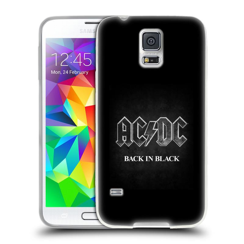 Silikonové pouzdro na mobil Samsung Galaxy S5 HEAD CASE AC/DC BACK IN BLACK (Silikonový kryt či obal na mobilní telefon s oficiálním motivem australské skupiny AC/DC pro Samsung Galaxy S5 SM-G900F)
