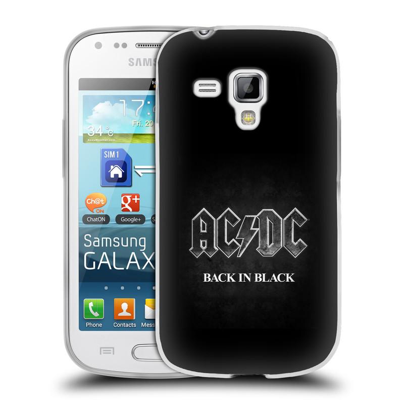 Silikonové pouzdro na mobil Samsung Galaxy S Duos HEAD CASE AC/DC BACK IN BLACK (Silikonový kryt či obal na mobilní telefon s oficiálním motivem australské skupiny AC/DC pro Samsung Galaxy S Duos GT-S7562)