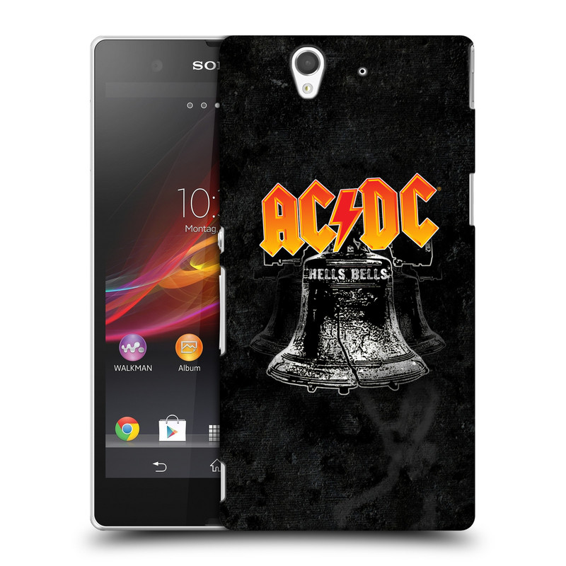 Plastové pouzdro na mobil Sony Xperia Z C6603 HEAD CASE AC/DC Hells Bells (Plastový kryt či obal na mobilní telefon s oficiálním motivem australské skupiny AC/DC pro Sony Xperia Z)