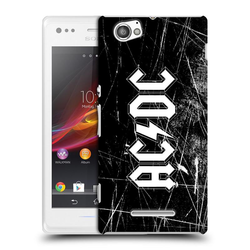 Plastové pouzdro na mobil Sony Xperia M C1905 HEAD CASE AC/DC Černobílé logo (Plastový kryt či obal na mobilní telefon s oficiálním motivem australské skupiny AC/DC pro Sony Xperia M )