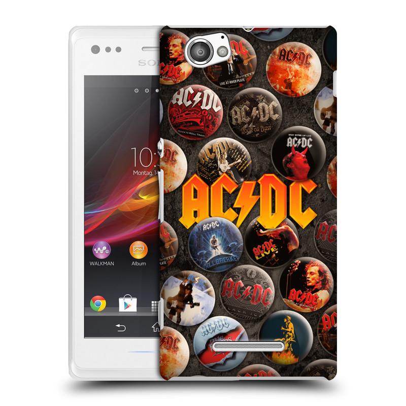 Plastové pouzdro na mobil Sony Xperia M C1905 HEAD CASE AC/DC Placky (Plastový kryt či obal na mobilní telefon s oficiálním motivem australské skupiny AC/DC pro Sony Xperia M )