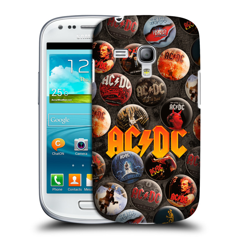 Silikonové pouzdro na mobil Samsung Galaxy S III Mini VE HEAD CASE AC/DC Placky (Plastový kryt či obal na mobilní telefon s oficiálním motivem australské skupiny AC/DC pro Samsung Galaxy S3 Mini VE GT-i8200)