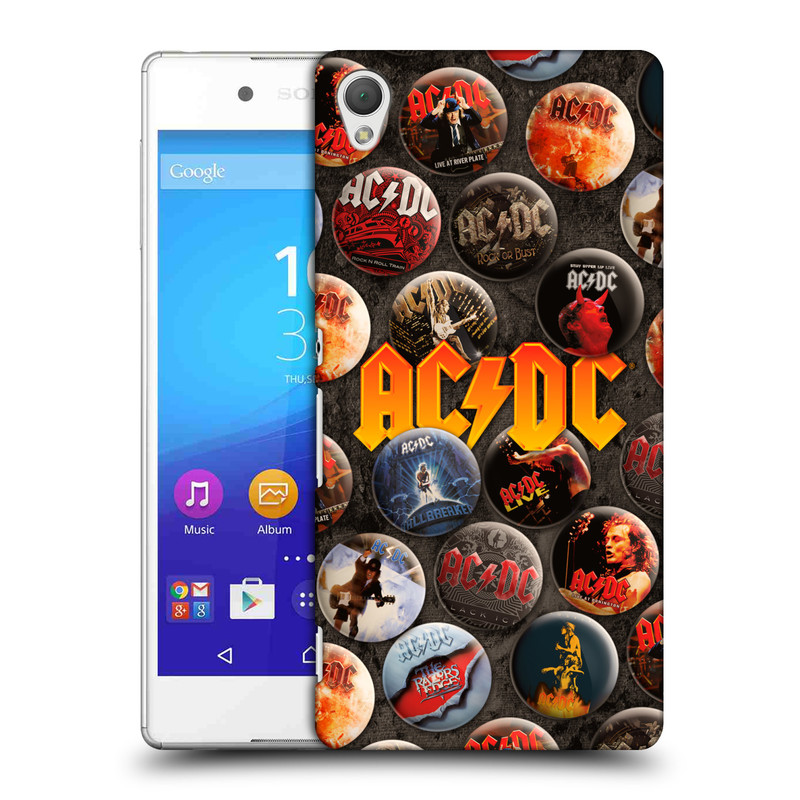 Plastové pouzdro na mobil Sony Xperia Z3+ (Plus) HEAD CASE AC/DC Placky (Plastový kryt či obal na mobilní telefon s oficiálním motivem australské skupiny AC/DC pro Sony Xperia Z3+ a Sony Xperia Z4 )