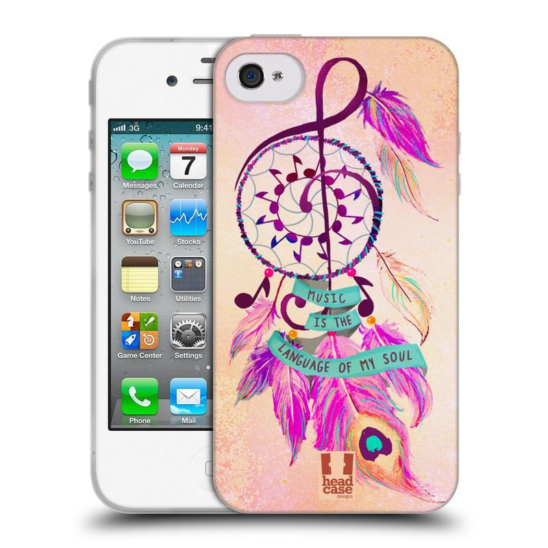 Silikonové pouzdro na mobil Apple iPhone 4 a 4S HEAD CASE Lapač Assorted Music (Silikonový kryt či obal na mobilní telefon Apple iPhone 4 a 4S)