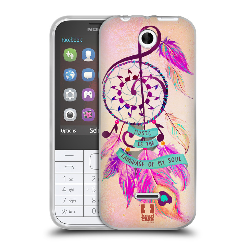 Silikonové pouzdro na mobil Nokia 225 HEAD CASE Lapač Assorted Music (Silikonový kryt či obal na mobilní telefon Nokia 225)
