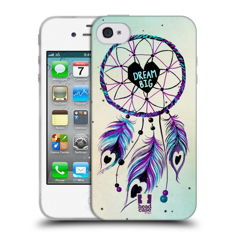 Silikonové pouzdro na mobil Apple iPhone 4 a 4S HEAD CASE Lapač Assorted Dream Big Srdce (Silikonový kryt či obal na mobilní telefon Apple iPhone 4 a 4S)