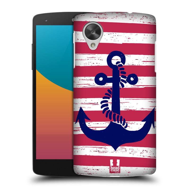 Plastové pouzdro na mobil LG Nexus 5 HEAD CASE KOTVA S PRUHY (Kryt či obal na mobilní telefon LG Google Nexus 5 D821)