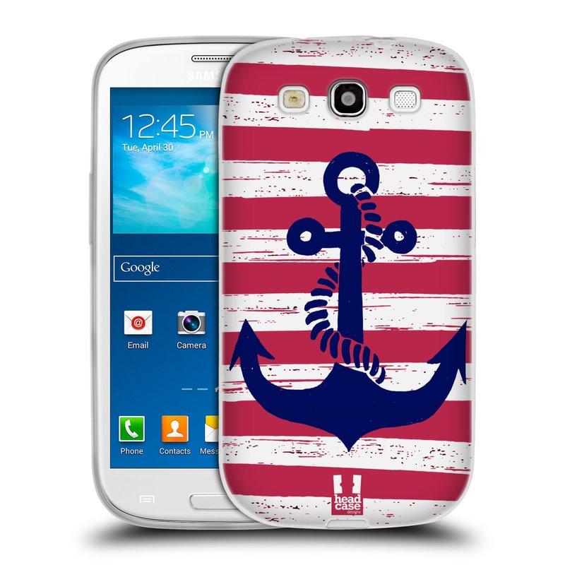 Silikonové pouzdro na mobil Samsung Galaxy S III HEAD CASE KOTVA S PRUHY (Silikonový kryt či obal na mobilní telefon Samsung Galaxy S III GT-i9300)