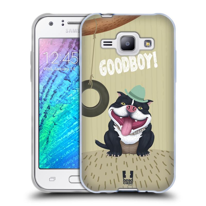 Silikonové pouzdro na mobil Samsung Galaxy J1 HEAD CASE Goodboy! Pejsek (Silikonový kryt či obal na mobilní telefon Samsung Galaxy J1 a J1 Duos)