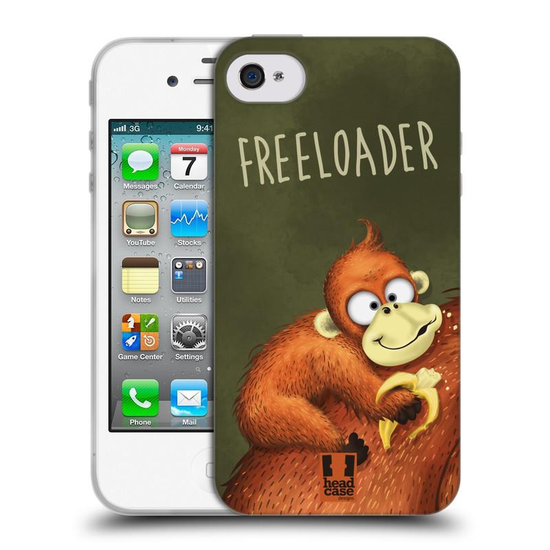 Silikonové pouzdro na mobil Apple iPhone 4 a 4S HEAD CASE Opičák Freeloader (Silikonový kryt či obal na mobilní telefon Apple iPhone 4 a 4S)
